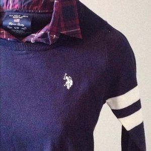 "3/4"" light sweater w/purple plaid collar insert"